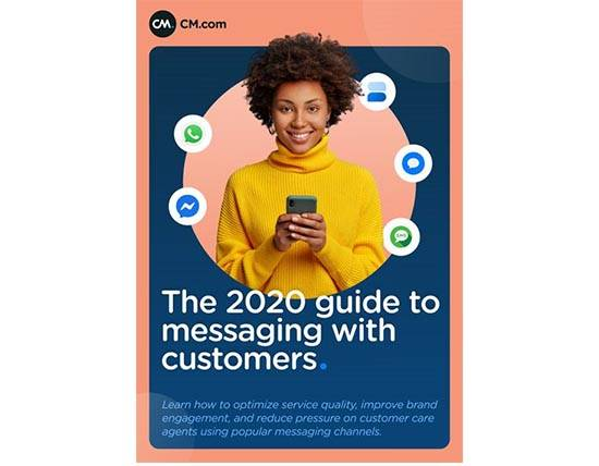 "Cover of the whitepaper called ""The 2020 guide to messaging with customers"""