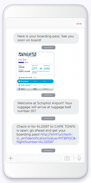 a boarding pass on a mobile phone