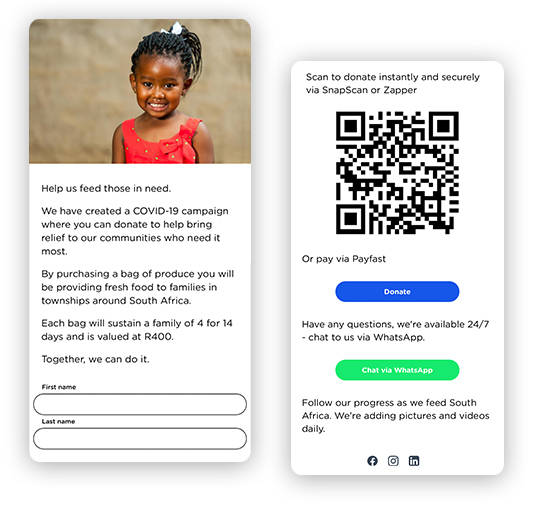 A mobile landing page that asks for donations to help South African families buy food for 14 days during the Covid-19 crisis time