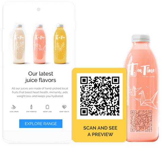 scan QR code and see latest juice flavors