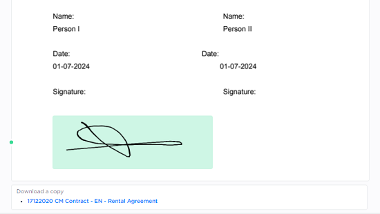 screenshot sign rental agreement