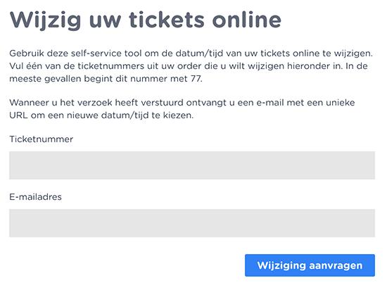 ticket omboeken global ticket