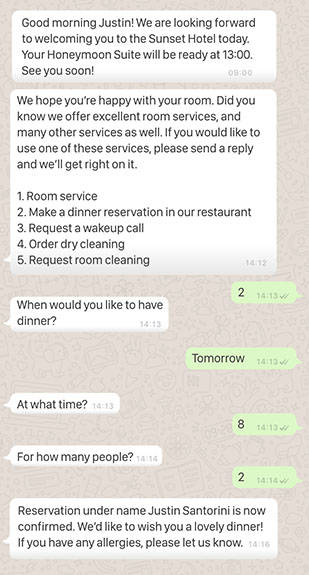 whatsapp conversation hotel