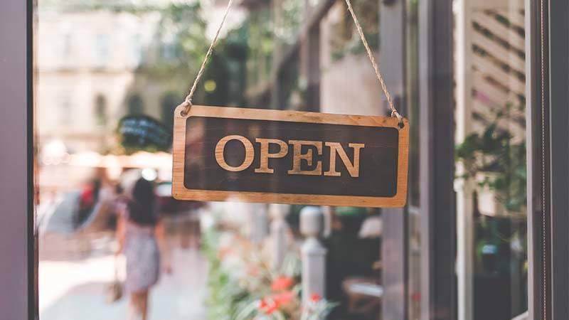 open sign in door