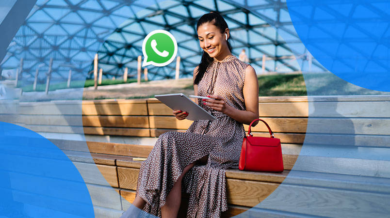 asian girl in chair with laptop whatsapp business