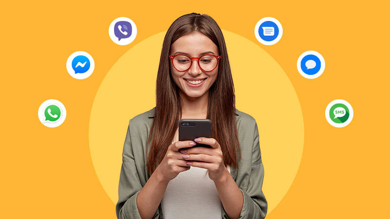 girl with glasses messaging channels conversational