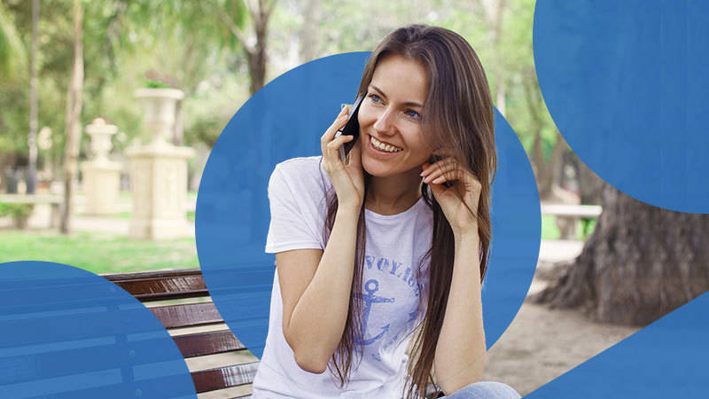 Woman using VoIP for Business