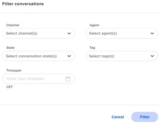 CM.com - customer contact filter options
