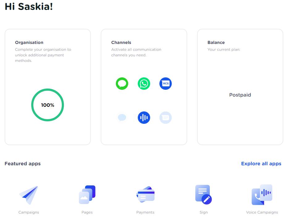 CM.com Platform Dashboard
