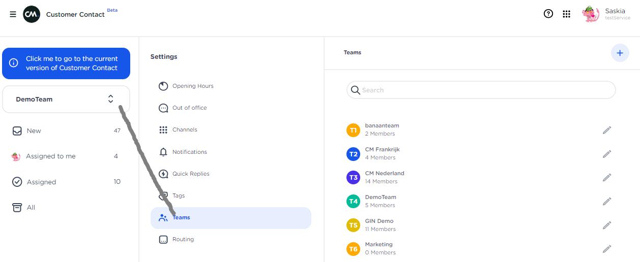 CM.com - customer contact configure teams