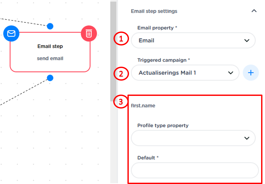 Set-up for email Step