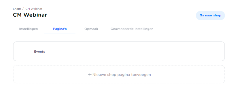 Pagina's in een shop Seated